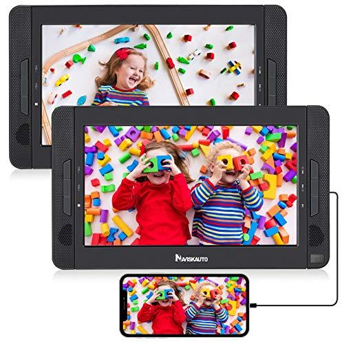 HDMI Input Lecteur DVD Portable Voiture 2 Ecrans Appuie-tête de 10,1 Pouces NAVISKAUTO pour Enfants...
