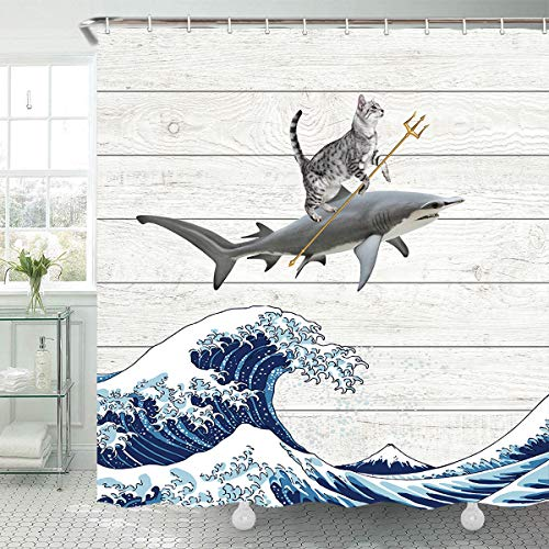TOMOZ Funny Cat Shower Curtain Cat Riding a Shark in Ocean Wave Bathroom Curtain Japanese The Great Wave Off Kanagawa Fabric Shower Curtains with Hooks 69x70 Inch