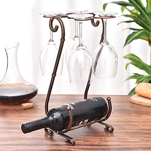SUHETI Estante de Metal, Estante de Vino con Soporte para Copas y Soporte para Vino y Mesa, Soporte de Vino para Cocina