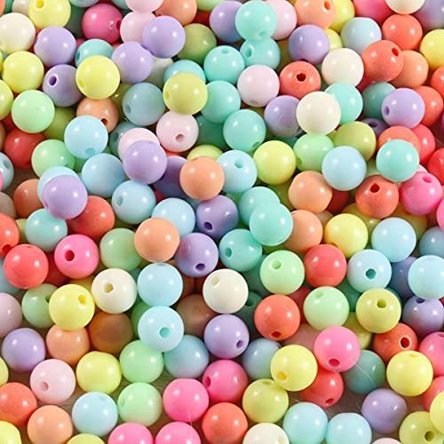 Cuentas espaciadoras de bolas redondas acrílicas de color caramelo de 4mm-12mm para hacer joyas, accesorios de joyería DIY para manualidades-8mm, cuentas de 100 piezas