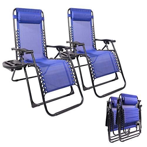 Yangming Galion Reclining Zero Gravity Chair (Set of 2), Dark Blue