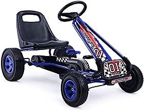 HONEY JOY Go Kart for Kids, 4 Wheel Quad Off-Road Pedal On Foot Go Cart w/Steering Wheels & Adjustable Seat, 2 Safety Brakes, EVA Tires, Clutch, Outdoor Racer Ride On Pedal Car (Blue)