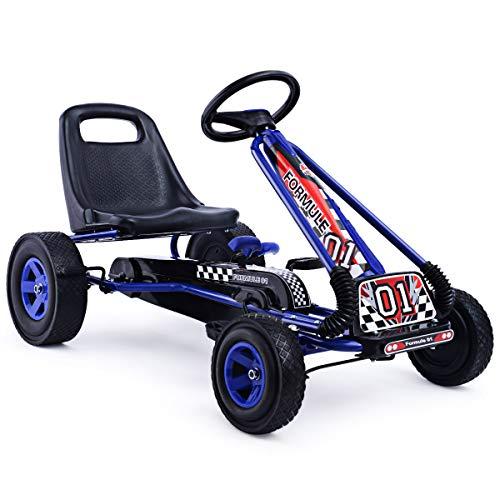 HONEY JOY Pedal Go Kart, Kids 4 Wheels Quad Kids Ride On Toy with Adjustable Seats, Brake, Clutch,...