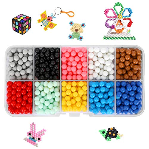 EPCHOO Water Fuse Beads Kit, 1000 Pcs 10 Colors Water Fuse Beads Refill Children DIY Bead Set with Storage Case Best Christmas Birthday Toys Gift for Girls Boys 5 Years Old+