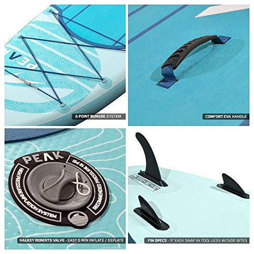 Peak Expedition Inflatable Stand Up Paddle Board — Durable Lightweight Touring SUP with Stable Wide Stance — 11' Long x 32' Wide x 6' Thick - (Aqua)