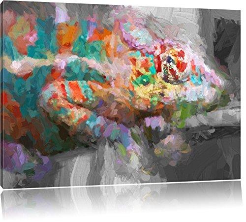 mooi panterkameleonFoto Canvas | Maat: 100x70 cm | Wanddecoraties | Kunstdruk | Volledig gemonteerd
