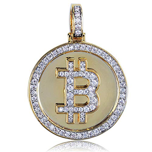JAJAFOOK Iced Out CZ Simulated Diamond 14K Gold Plated Bitcoin Cryptocurrency Pendant Necklace Rope Chain