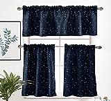 2 paneles de cortinas de nivel y 1 panel de cortina de cenefa corta, 3 piezas opacas de papel de aluminio con estrellas doradas, juego de cortinas para ventana habitación de los niños, azul marino