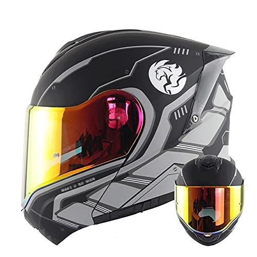 Casco Modular para Motocicleta Casco Integral Dot/ECE Homologado Cascos Moto integrales para Mujer Hombre Adultos con Doble Visera (Color : Black White C, Size : XL/X-Large 59-60cm)