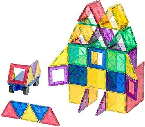 Playmags - Juego de construcción de azulejos magnéticos de colores claros, ganador de premios, juego de 50 + 6 piezas con coche, juguetes magnéticos STEM para desarrollar habilidades motoras y creatividad, construcción de imanes coloridos y duraderos