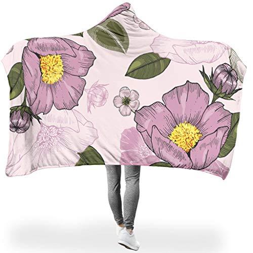 Vrnceit Plant bloem knuffelig capuchon deken pluisvrij voor slaapkamers in koude omgeving Prachtige stijl plant