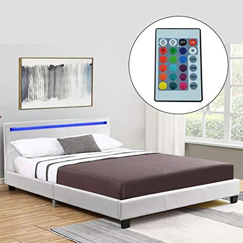 ArtLife Polsterbett Verona 120 × 200 cm weiß | Bettgestell inkl. LED-Beleuchtung, Kunstleder &...