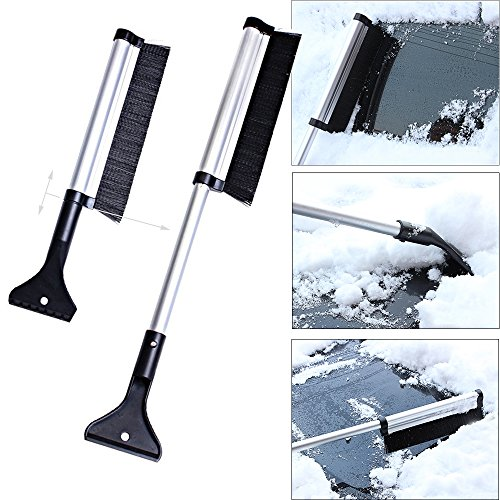 Ytuomzi Extendable Telescoping Snow Brush 2-in-1 Retractable Ice Scraper Multifunctional Snow Shovel Tool for Car Windshield Cleaning & Winter Deicing (A)