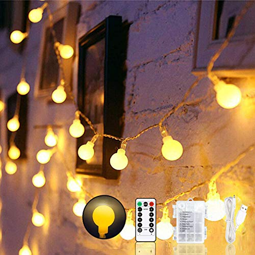 LED Globe String Lights, USB or Battery Powered 15m/49ft 100 LED Fairy Lights with Remote 8 Modes Waterproof Decorative Outdoor Indoor Lights for Christmas Holiday Bedroom Wedding - Warm White