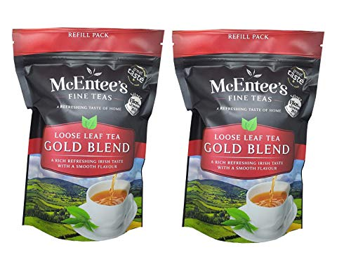 McEntee's Irish Loose Leaf Gold Blend Tea - ( Pack of 2 ) - 250g Refill Bag - Expertly blended in Ireland to give that perfect cup of tea. Delivering that taste of home.