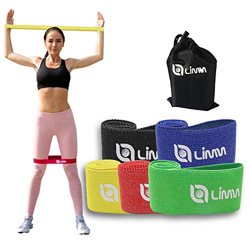Limm Fabric Resistance Bands for Working Out - No-Slip Resistance Bands - Total Gym Workout Set of Elastic Bands for Exercise - Exercise Bands Set for Legs and Glute - Stretch Bands for Botty Exercise