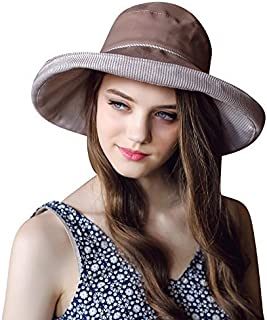 Home Prefer Cotton Essential Summer Hat Fold Up Wide Brim Sun Bucket Hat Upf50+ Fishing Hat Beach Sun Hat with Stripes