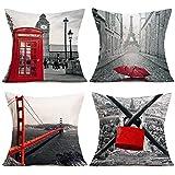 ShareJ 4 Pack Decorative Pillow Covers Cotton Linen London, England Artwork Big Ben Red Umbrella Bridge Love Lock Decorative Cushion Cover 18'X18'