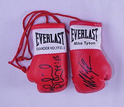 Signiert Mini Boxhandschuhe Mike Tyson v Evander Holyfield