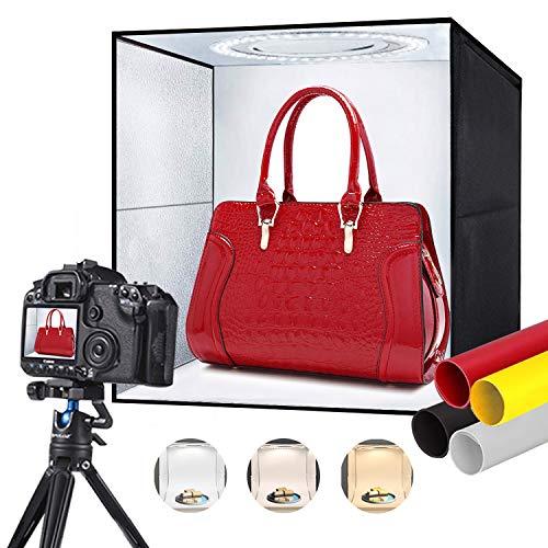 Tumax Studio Fotografico Portatile 30 x 30 cm, Pieghevole Light Box Professionale con Luci e Temperatura de Colore Regolabile, Photo Shooting Tenda con 120 Luce LED a 3 Colori e 4 Sfondi Colorati
