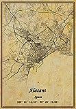 Póster de mapa de Alacant de España en lienzo con impresión de estilo vintage, sin marco, decoración de regalo 30,5 x 40,6 cm
