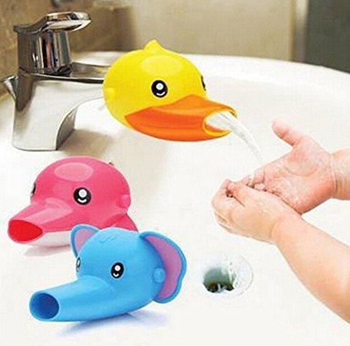 2 Stück Wasserhahn Verlängerung Extender Wasser-Hahn-Extender für Kinder Baby Baby Hände Waschen Badezimmer Küch-Cartoon Tier Design Hand waschen Waschbecken Ente + Elefant