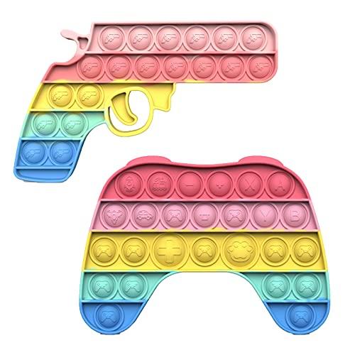 Pop Fidget Toy Juguete Sensorial de Silicona Apretar Burbujas Autismo Necesidades Especiales Alivio del EstréS Alivio de la Ansiedad para Niños Adultos (Forma de pistola+mango de juego)