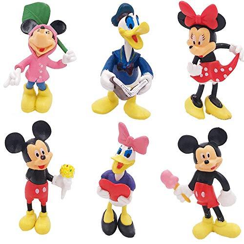 6 PCS Decoración de pastel de cumpleaños de Mickey Mouse Mickey Mini conjunto de figuras de fiesta de cumpleaños figuras de cupcakes suministros 5-7cm