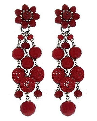 PYTON RED - Orecchini made in Italy, con clips, senza buco, 3 pendenti in cristallo e resina Rosso, lunghezza cm. 9,5