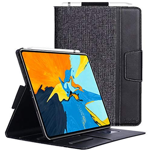 Toplive iPad Pro 11 Case (2018), [Support Apple Pencil Charging] Canvas Stand Folio Case Cover for Apple iPad Pro 11 inch 2018 with Auto Sleep Wake Function and Multiple Viewing Angles, Black
