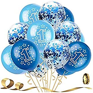 holiday atmosphere 15 PCS 1st Birthday Balloons Boy Decorations Kit,Fun to be One,Blue and Sky Blue Color Balloons Sweet P...