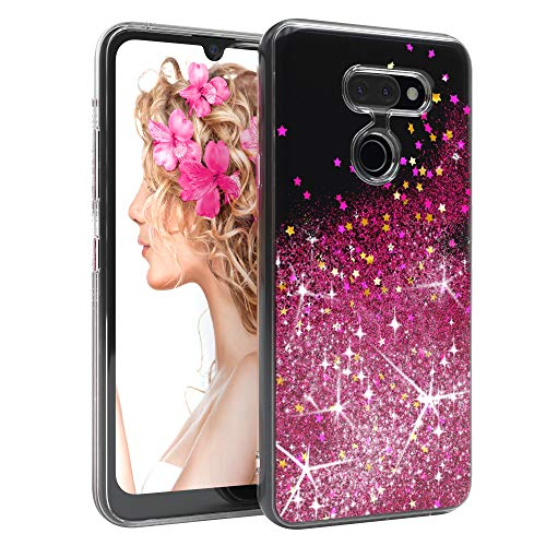 EAZY CASE Hülle kompatibel mit LG K40s Schutzhülle mit Flüssig-Glitzer, Handyhülle, Schutzhülle, Back Cover mit Glitter Flüssigkeit, TPU/Silikon, Transparent/Durchsichtig, Pink