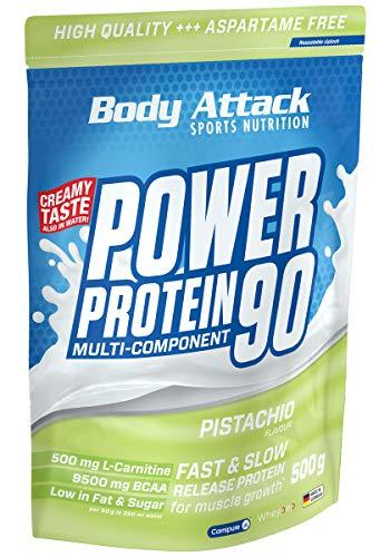 Body Attack Power Protein 90, 5K Eiweißpulver mit Whey-Protein, L-Carnitin und BCAA für Muskelaufbau und Fitness, Made in Germany (Pistachio Cream, 500g)