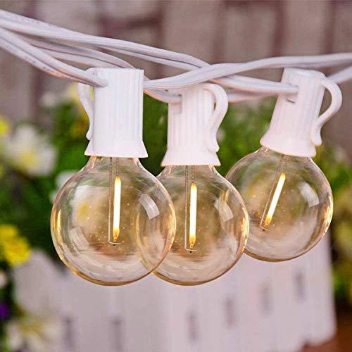LED-Außenleuchten G40 25 LED-Glühbirnen mit 3 Ersatzglühbirnen UL-gelistet Terrassenleuchten Gartenlauben Balkon-Hochzeiten Party, 25ft/7.62M IP44 Wasserdicht - Weiß
