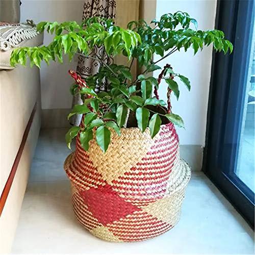 Surenhap Seagrass Cesta de cesteria de Mimbre Canasta de lavandería Canasta de Mimbre Plegable Canasta para Almacenamiento de Estilo nórdico Belly Basket - roja,L