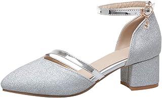 [KITTCATT] レディースパンプス 結婚式 靴 パンプス セパレートサンダル キラキラ靴 グリッターシューズ 太いヒール パンプス 歩きやすい ローヒール 春物サンダル