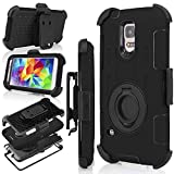 J.west S5 Case, Galaxy S5 Holster case, Hybrid Dual Layer Combo Armor Defender Protective Case with Kickstand + Belt Clip Holster for Samsung Galaxy S5 (Black)