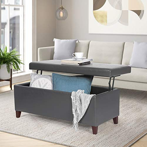 Joveco 42' Storage Bench Ottoman Footstool- Lift Top Coffee Table Ottoman- Gray Faux Leather Ottoman with Storage- End of Bed Bench- Toy Chest for Living Room...