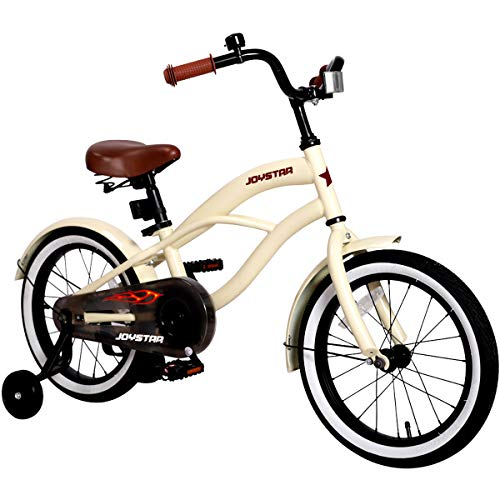 JOYSTAR 16 Inch Boys & Girls Bike with Training Wheels & Bell for 4 5 6 7 Years, Children Beach Cruiser Bicycle with Fender, Beige