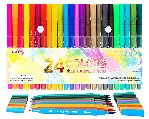 Dual Tip Brush Pen Art Markers, Calligraphy Brush Pens for Lettering, 24 Pack Brush and Fine Tip Markers for Coloring Books Sketching Bullet Journaling
