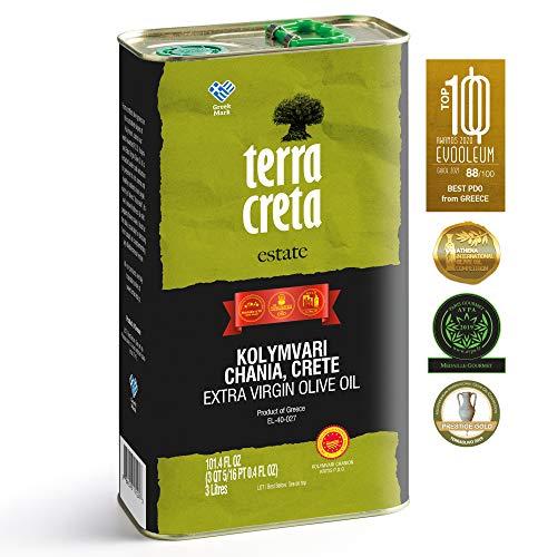 Terra Creta | Certified PDO Extra Virgin Olive Oil 3Ltr | Award Winning | Single Origin & Single Estate Kolymvari | 100% Pure Greek Olive Oil | Cold Extracted | Certified Kosher