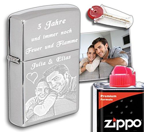 3Dglas Zippo Originale con la Tua Foto | compreso Set Regalo (Flint, Benzina) | Cromato Lucido, Chrome High Polished | Incisione con la Tua Foto