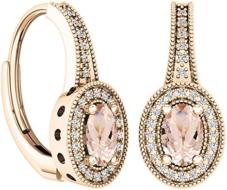 Dazzlingrock Collection 10K 6X4 MM Each Oval Cut Morganite Round Cut Diamond Ladies Dangling product image