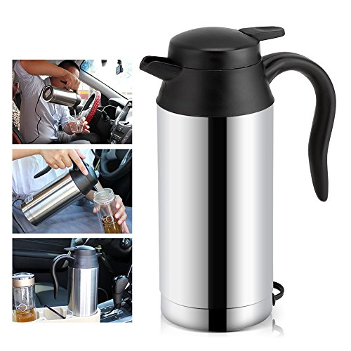 Car Electric Kettle,12V 750ml Stainless Steel Electric Car Kettle Heating Cup Coffee Mug Travel Water Milk Bottle for Camping Boat