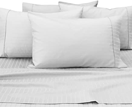 Natural Comfort 420TC 6-Piece Dobby Stripe Sheet Set RS420SS-DS-WH-K,  King,  White,  6