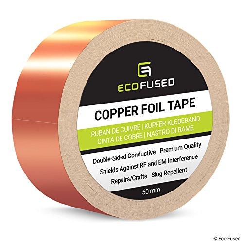 Cinta Adhesiva de primera calidad de cobre - Conducto de doble cara - 2 pulgadas (50mm) - Blindaje EMI y RF, Circuitos de papel, Reparaciones eléctricas, Conexión a tierra, Repelente de babosas