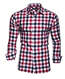 Kayhan Hombre Camisa Slim fit, Quadri Doppelfarbig Red XXL