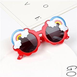 TAIYUAN - TAIYUAN Gafas de Sol para niños Rainbow Rainbow Niños Gafas de Sol Niños Lindo Rosa Azul Amarillo Vidrios Coloreados Muchachos Bebé Bebé Sombras Redondas Tendencias 2021 Vogue Fiesta decoración