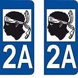 Autocollant arr Plaque immatriculation département Auto Corse 2A Angle Arrondi