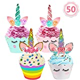 Mibote 50 Stücke Einhorn Mini Cupcake Toppers und Wrappers Verpackung Beidseitig Handmade für...
